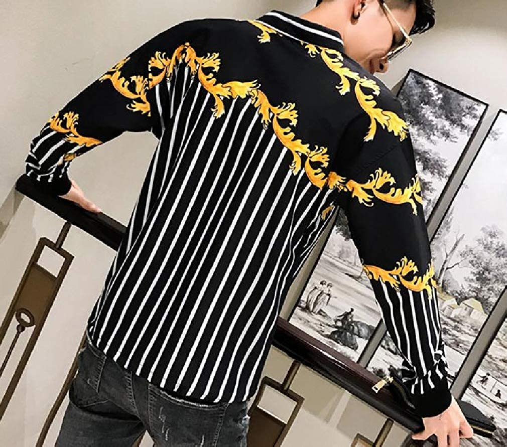 AngelSpace Mens Long-Sleeve Pullover Mordern-Fit Floral Print Peaked Collar T-Shirt