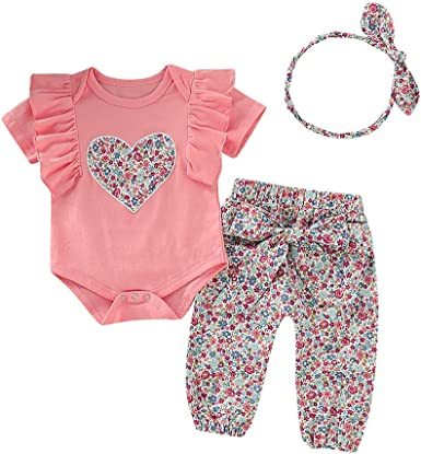 UK Baby Girl Romper Bodysuit Pants Trousers Headband Newborn Outfit Clothes Set