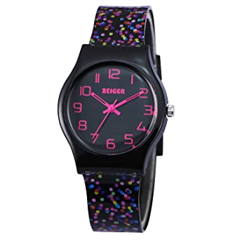 fda74dfc2 Amazon.com  Zeiger Kids Watches Young Teen Girls Student Children Watch  Resin Band (Black small dots)  Watches