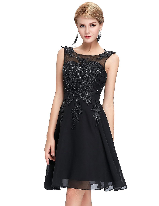 TALLA 40. GRACE KARIN Vestido Elegante para Boda Ceremonia De Vuelo Encaje Floral Precioso Maxi Negro Corto 40