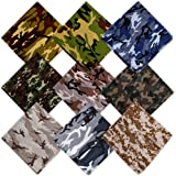 HANGNUO 9 Pack Camo Bandanas Cotton Headwraps Wristband Sports Face Cover for Running Cycling Hiking, 22 x 22 Inches
