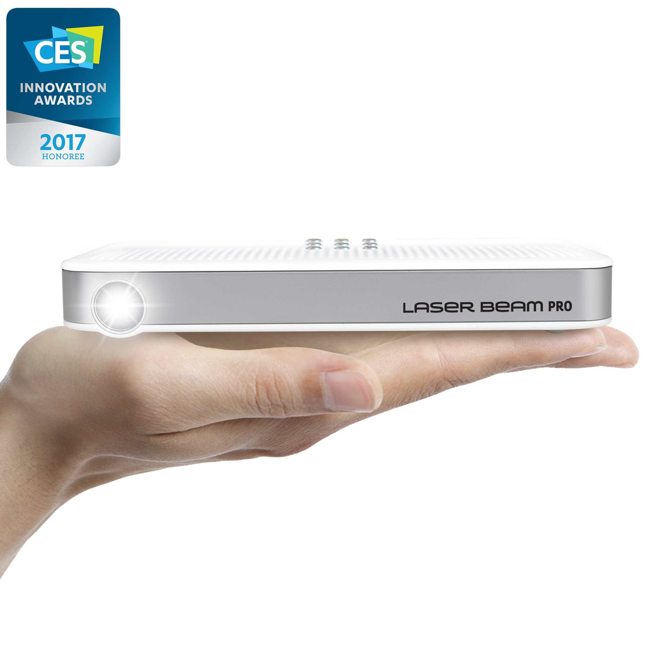 Laser Beam Pro, 2017 CES Awarded, Focus Free, FDA Class1 Laser, Less than 1mW, 200 Lumens, 4K input 768P HD output, Up to 150'' Screen, Wi-Fi, Bluetooth, USB, microSDslot, HDMI, OS equipped Projector