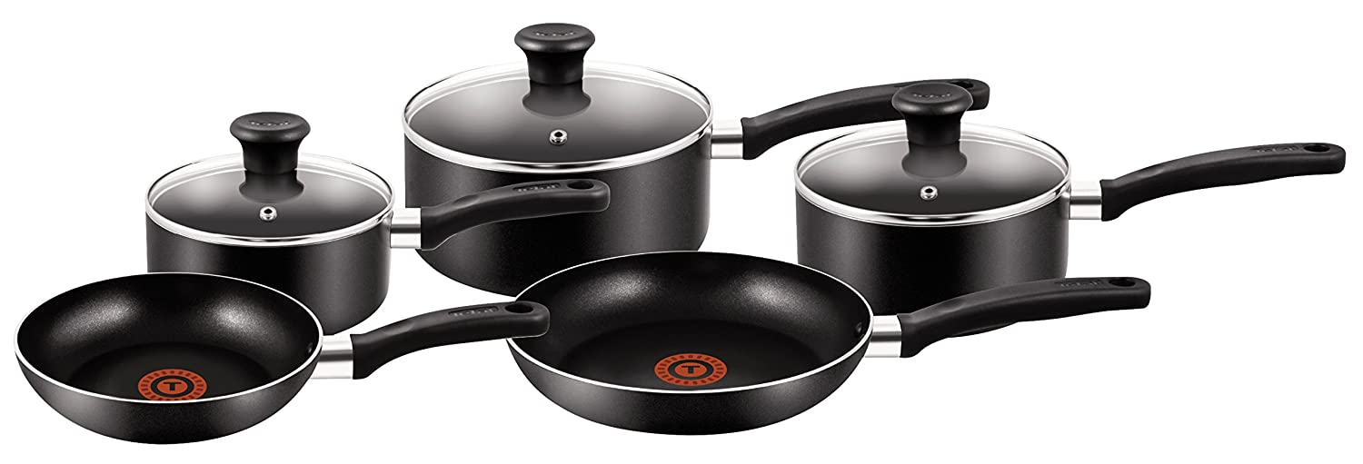 Tefal 5 Piece, Essential, Pots and Pans Set, Black, Aluminium, Non Stick