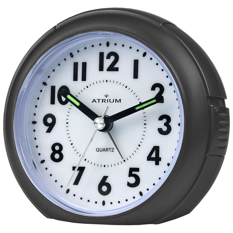 Atrium A240-7, sveglia analogica nera senza ticchettìo, con luce e snooze