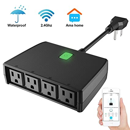 Wifi Smart Plug with 4 Outlets: Waterproof Smart Outlet with 4 Smart Plugs  for Indoor/Outdoor Use - Amazon Alexa and Google Home Connected Smart Home