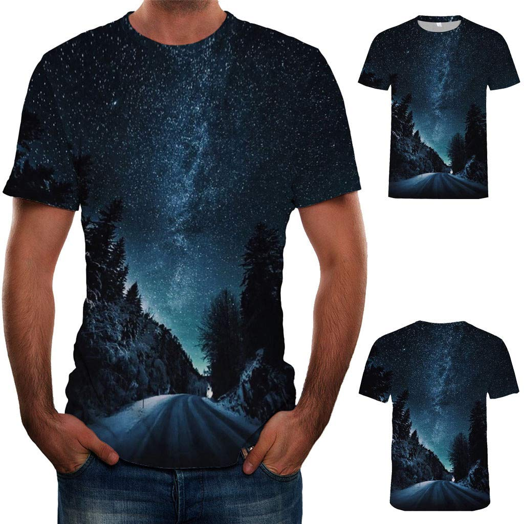 Pervobs Fashion Mens Causal Basic Short Sleeve 3D Print Crew Neck Regular Fit Tee Shirt Blouse T-Shirt Tops(L, Black B) by Pervobs Mens T-Shirts (Image #2)