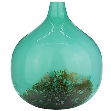 Luxus Glasvase Vase Tischvase Bodenvase Blumenvase Türkis Grün Glas