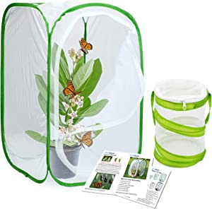 RESTCLOUD Insect and Butterfly Habitat Cage Terrarium Pop-up 23.6 Inches Tall with Mini Bug Cage