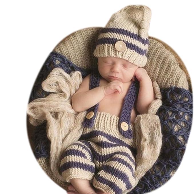 Accesorios de fotografía Binlunnu. Accesorios para bebé recién nacido: gorrito con y pantalón tejidos a ganchillo