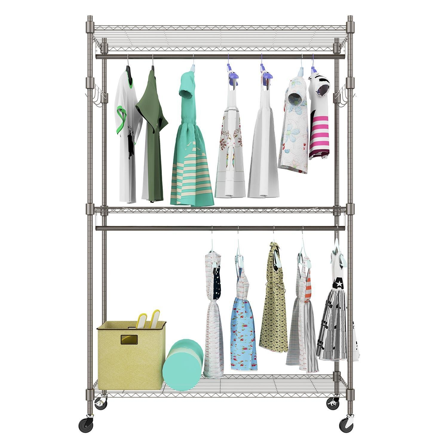 Pagacat Heavy Duty Rolling Garment Rack, Clothes Hangers Rack with Double Rods and Shelves[US Stock]