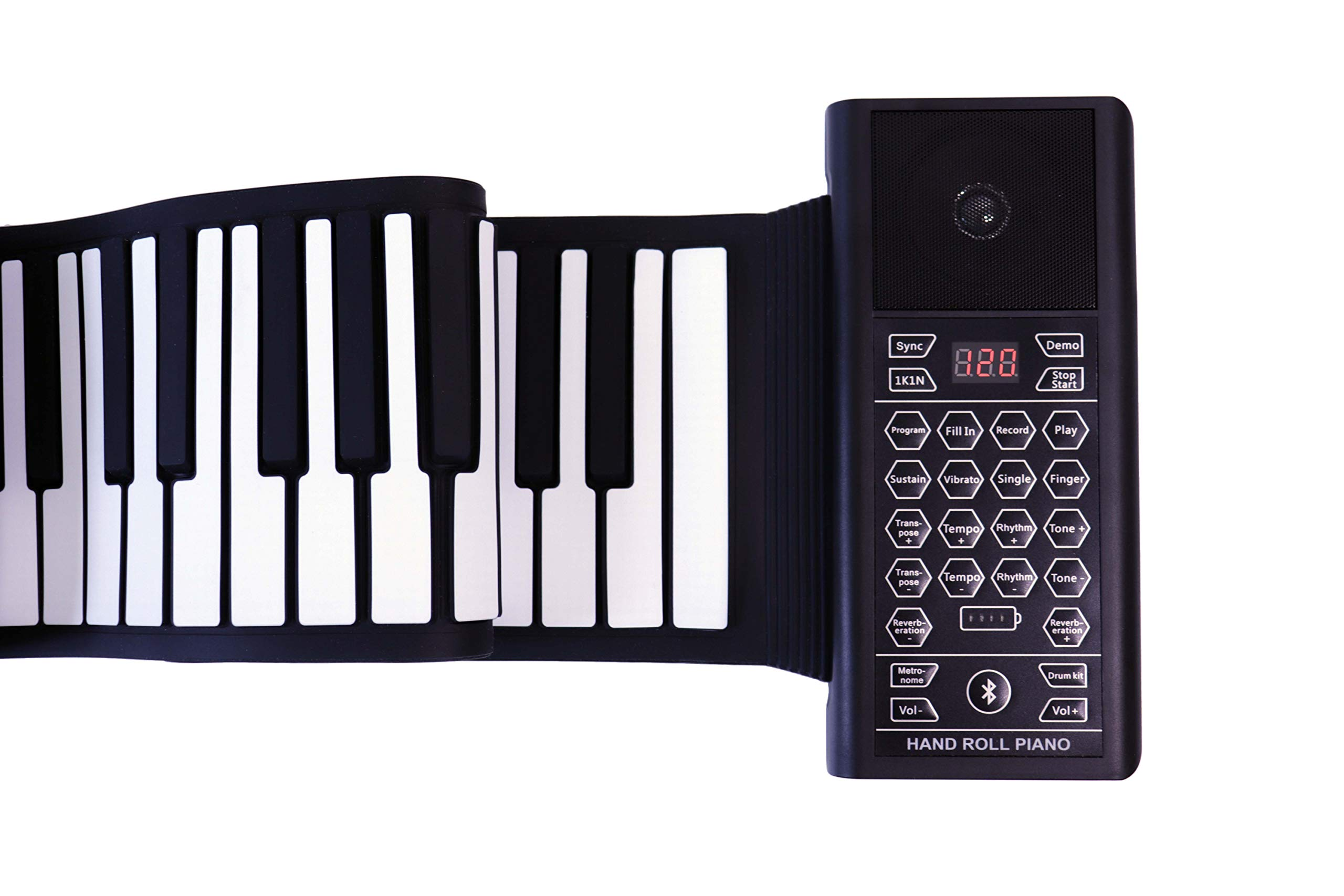 iLearnMusic Roll Up Piano Premium Grade Silicone |THICKENED KEYS | Upgraded Built-in Amplifying Speakers | Portable Piano Keyboard MIDI USB (88 Keys) by Kiker Music