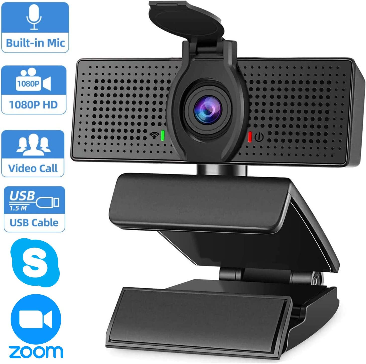 Webcam with Microphone & Privacy Cover, 1080p Streaming Computer Web Camera with Auto Light Correction, Plug and Play USB Webcam, Desktop Laptop PC Camera for Conference Video Calling Recording