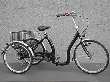 Triciclo Bicicleta plegable para – Tres – Rueda transporte Cuadro bajo contrapedal 5 G. Negro