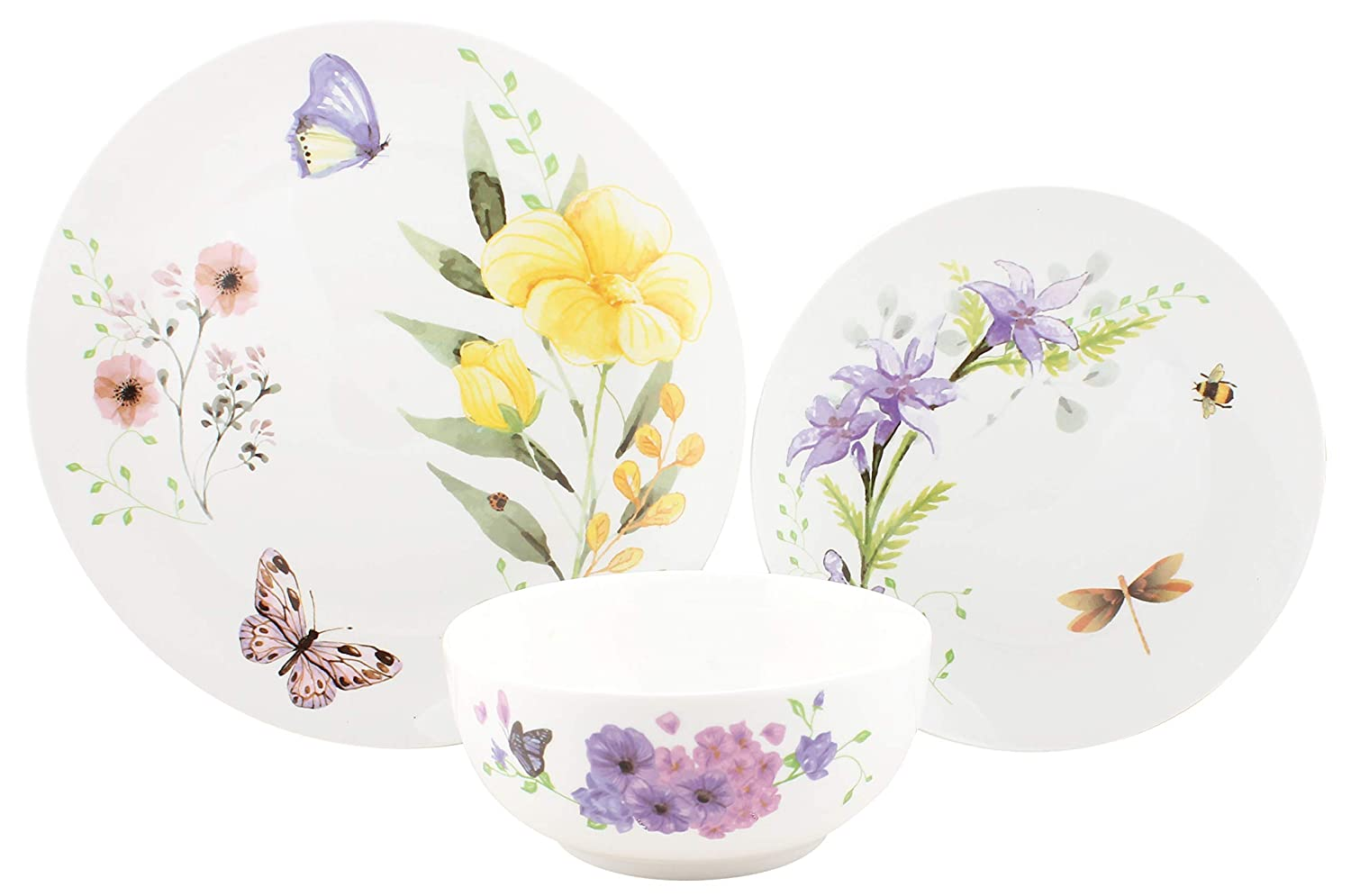 Melange 18-Piece Place Setting Premium Porcelain Dinnerware Set (Butterfly Garden Collection) | Service for 6 | Microwave, Dishwasher & Oven Safe | Dinner Plate, Salad Plate & Soup Bowl 6 Each)