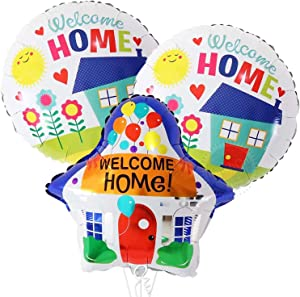 Welcome Home Round and House Shaped Balloons - Large, 18 Inch, Pack of 3 | Welcome Theme Home Party Supplies | Housewarming Party Decorations Kit | Family Decorations for Home | Welcome Home Party Supplies