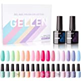 Gellen 16 Colors Gel Nail Polish Set With Top Base Coat - Juicy Vibrant Spring Summer Rainbow Neon Solid Colors…
