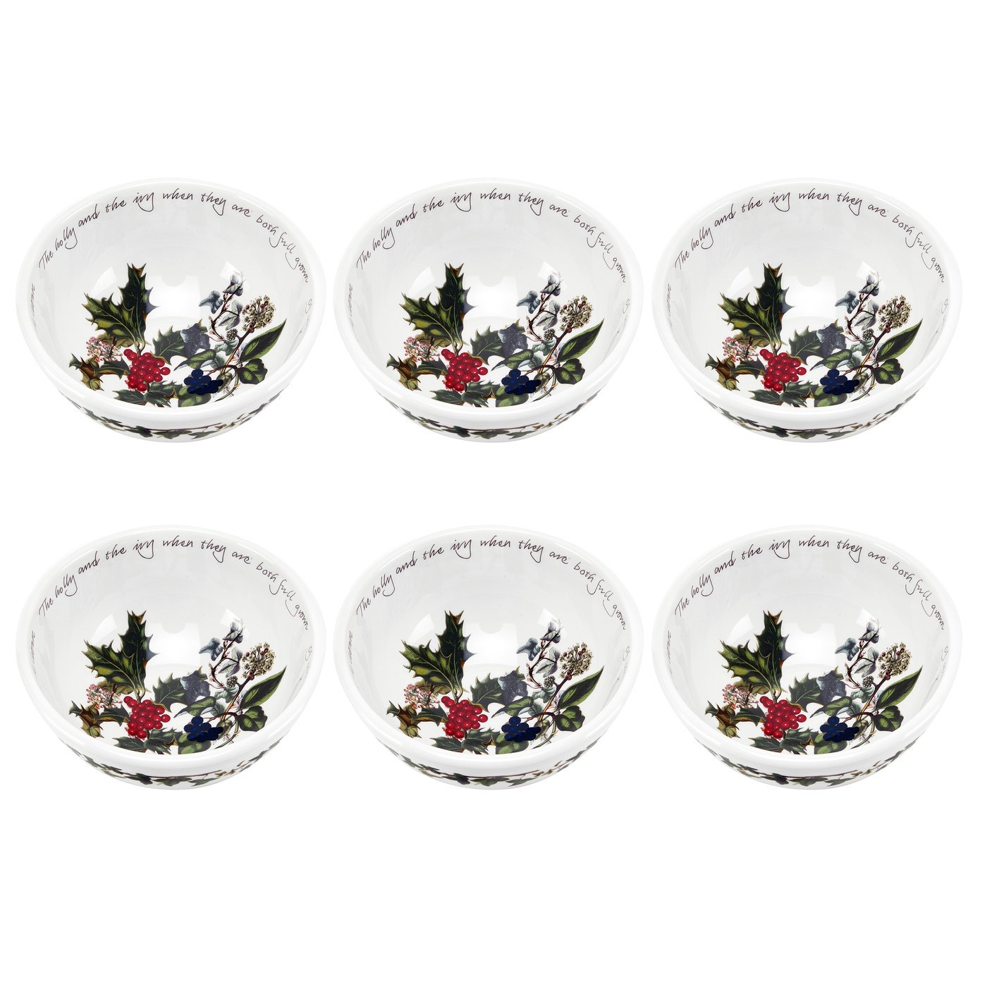 Portmeirion Holly and Ivy Individual Fruit Salad Bowls, Set of 6 64240