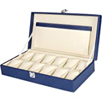 Hard Craft Watch Box Case PU Leather for 12 Watch Slots - Blue
