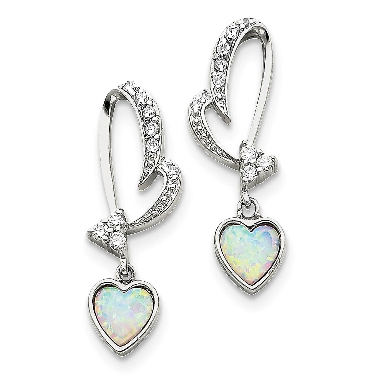 925 Sterling Silver Created-opal /& CZ Heart Dangle Post Earrings