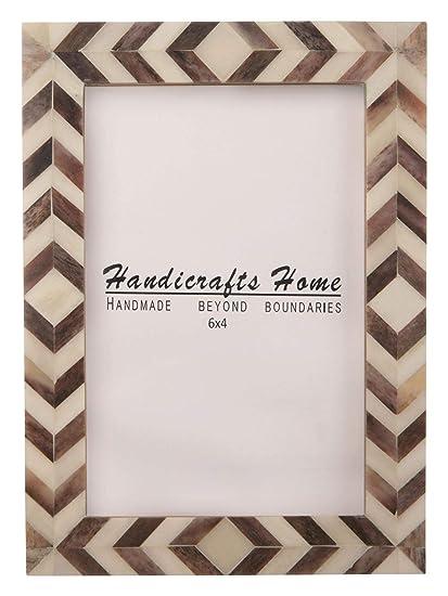 Amazon Com Handicrafts Home Brown White Chevron Picture Frames
