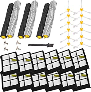 YOKYON Replacement Parts Kit Includes 3 Debris Extractor Sets, 12 Side Brush & 12 Hepa Filters for Iobot Roomba 800 900 Series 805 860 870 871 880 890 960 980 Vacuum Accessories