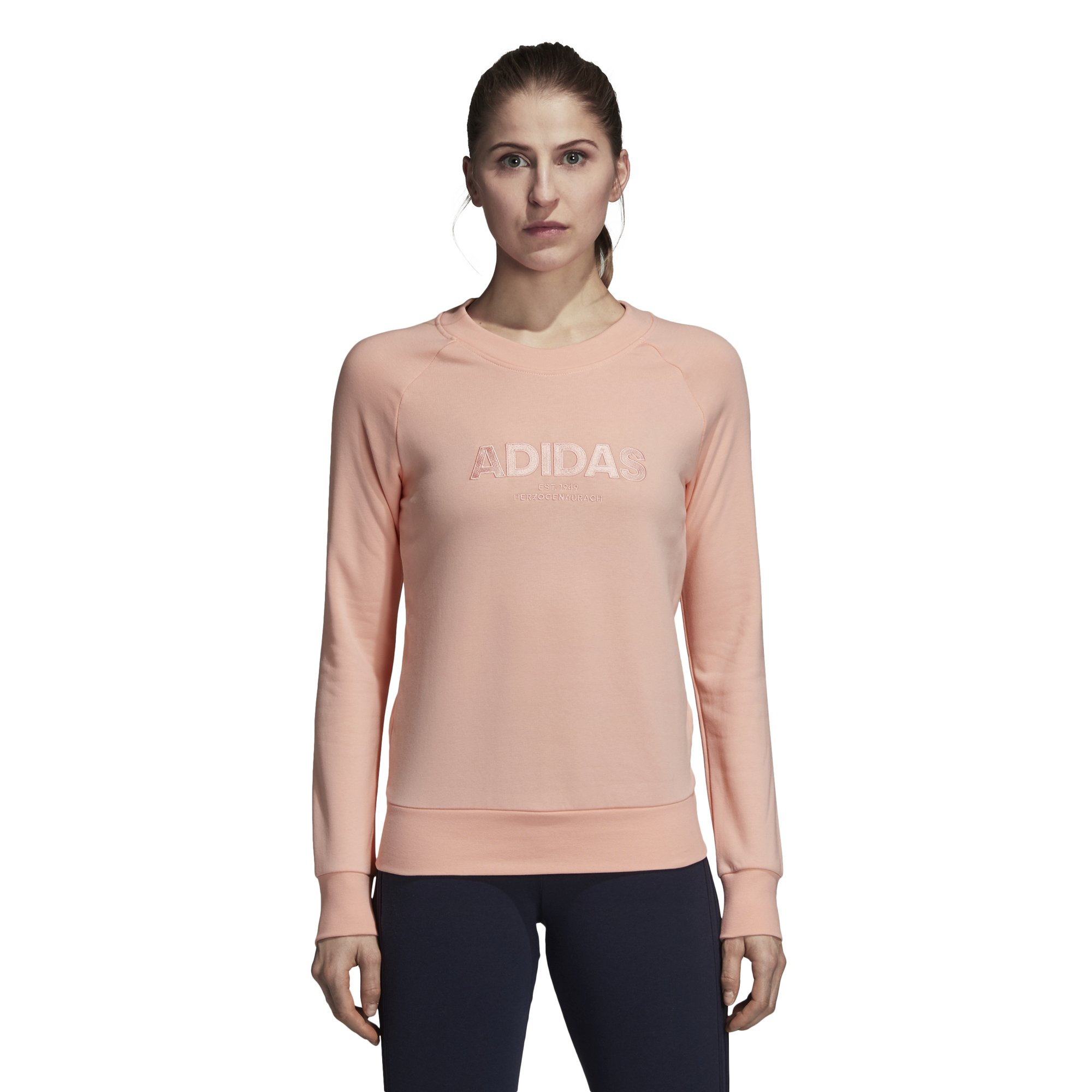 adidas Women's Essentials Allcap Sports Sweater, Variety (Medium, Haze Coral) by adidas