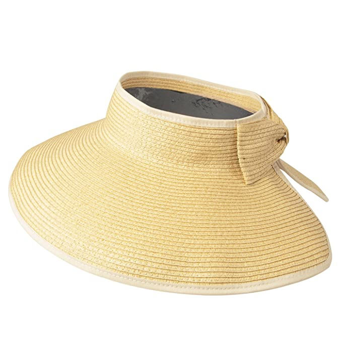 ccd40939c47e9 Image Unavailable. Image not available for. Color  Luxury Lane Women s  Beige Wide Brim Straw Sun Visor Hat
