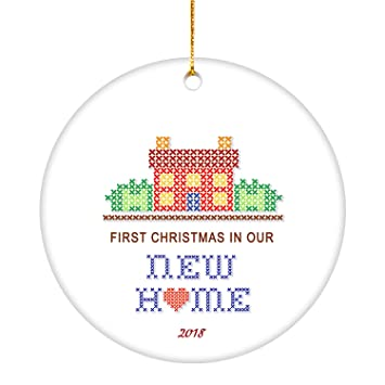 Our First Home Christmas Ornament.Vilight Our First Home Christmas Ornament 2018 1st Xmas In New House Gift For Homeowner 2 75 Flat Circle Ceramic Keepsakes Farmhouse