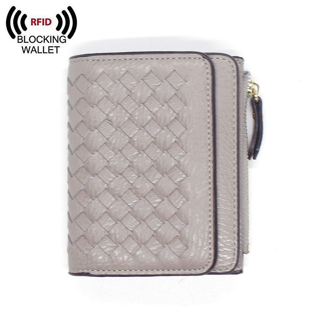 Womens RFID Blocking Handmade Leather Short Wallet Card Holder Zipper Coin Pocket Ladies Girls Travel Purse (Grey)
