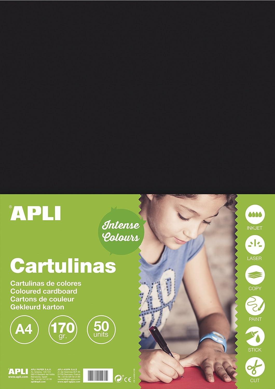APLI 14241 Cartulina 170g A4 50 hojas color azul cielo