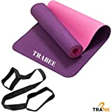 "Trabee Yoga Mat - Eco Friendly TPE Material, Reversible and Non Slip Excercise & Fitness Mat (72""x 24""x 1/4"" Thickness) for All Types of Yoga, Pilates and Floor Excercises with Carrying Strap"