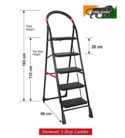 Saimani Folding Ladder with Wide Steps Black Cameo 5 Steps 5.1 FT Ladder (Lifetime Warranty*Made in India)