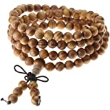 JOVIVI 8mm Natural Wood Bracelet Link Wrist Necklace 108 Tibetan Buddhist Prayer Beads Buddha Mala