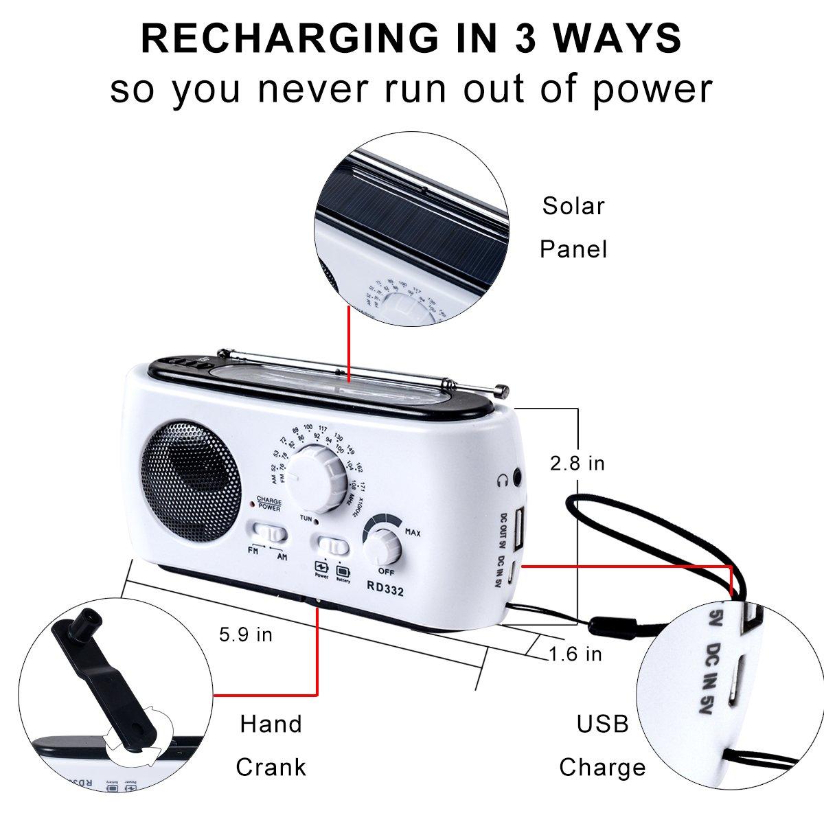 Amazon.com: Radio de emergencia con Solar y manivela ...