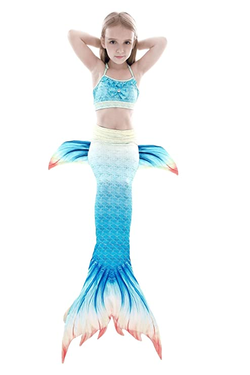3 Piezas Bikini Sirena Traje de baño Disfraz de Sirena Princesa ...