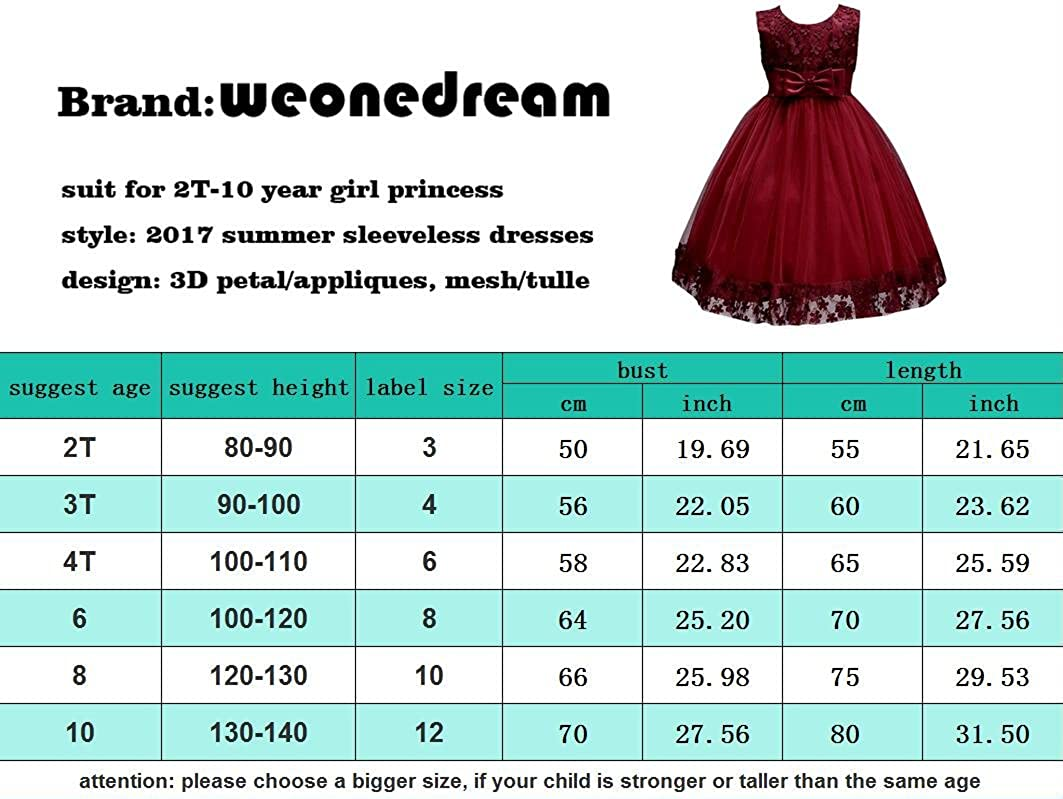 WEONEDREAM 2-10T Big Little Girl Pink Flower Girl Dresses N02