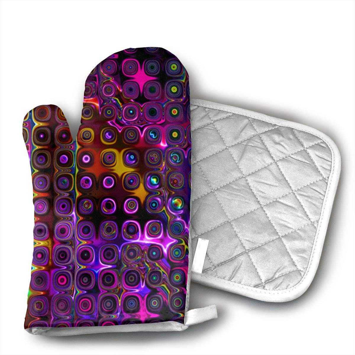 ujd DISCO CLUB NEON LIGHTS Neoprene Oven Mitts and Potholder Set-Heat Resistant Oven Gloves to Protect Hands and Surfaces with Non-Slip Grip, Hanging Loop-Ideal for Handling Hot Cookware Items