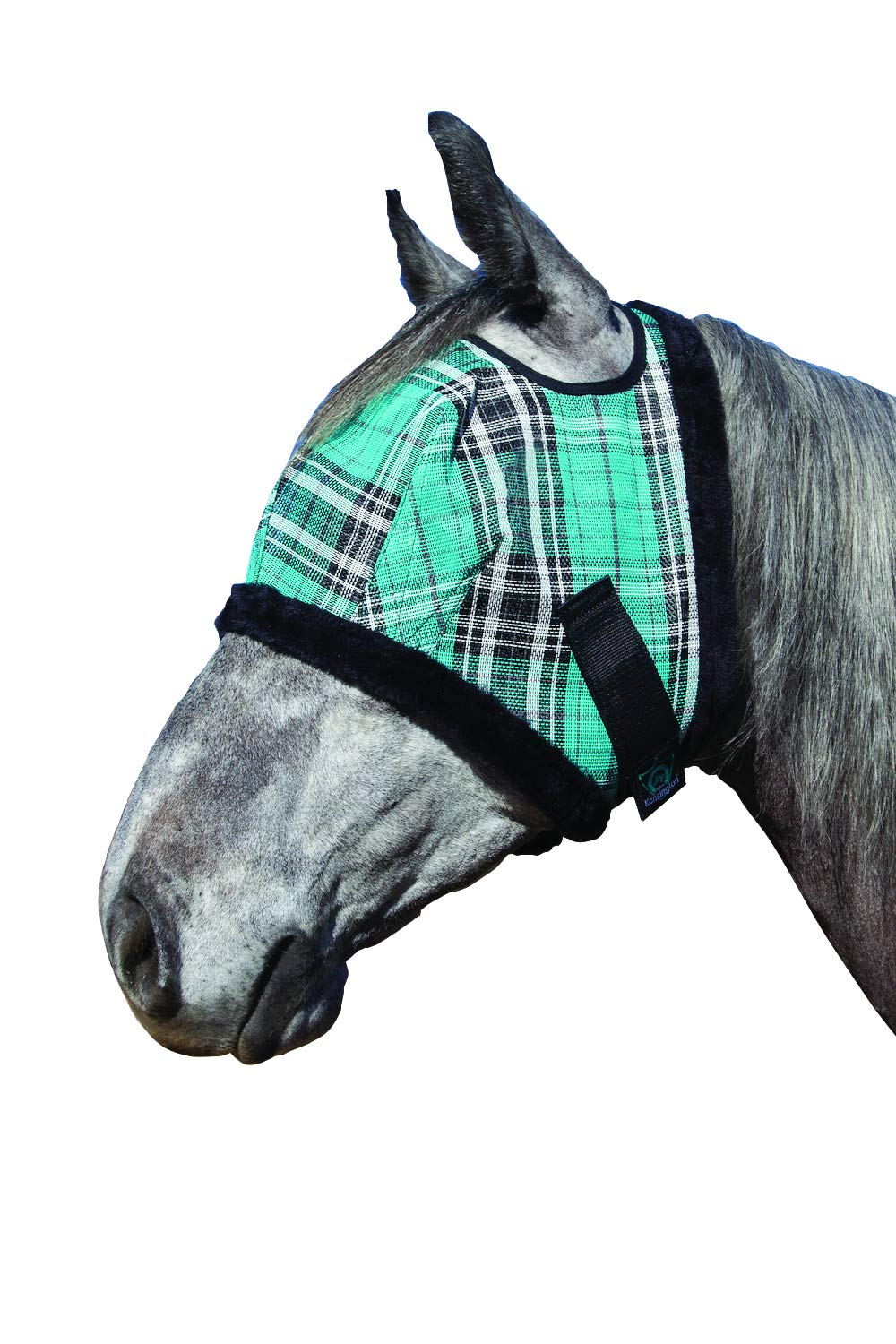 Kensington Fly Mask Fleece Trim for Horses - Protects Face, Eyes from Flies, UV Rays While Allowing Full Visibility - Breathable Non Heat Transferring, Perfect Year Round, (B, Black Ice)