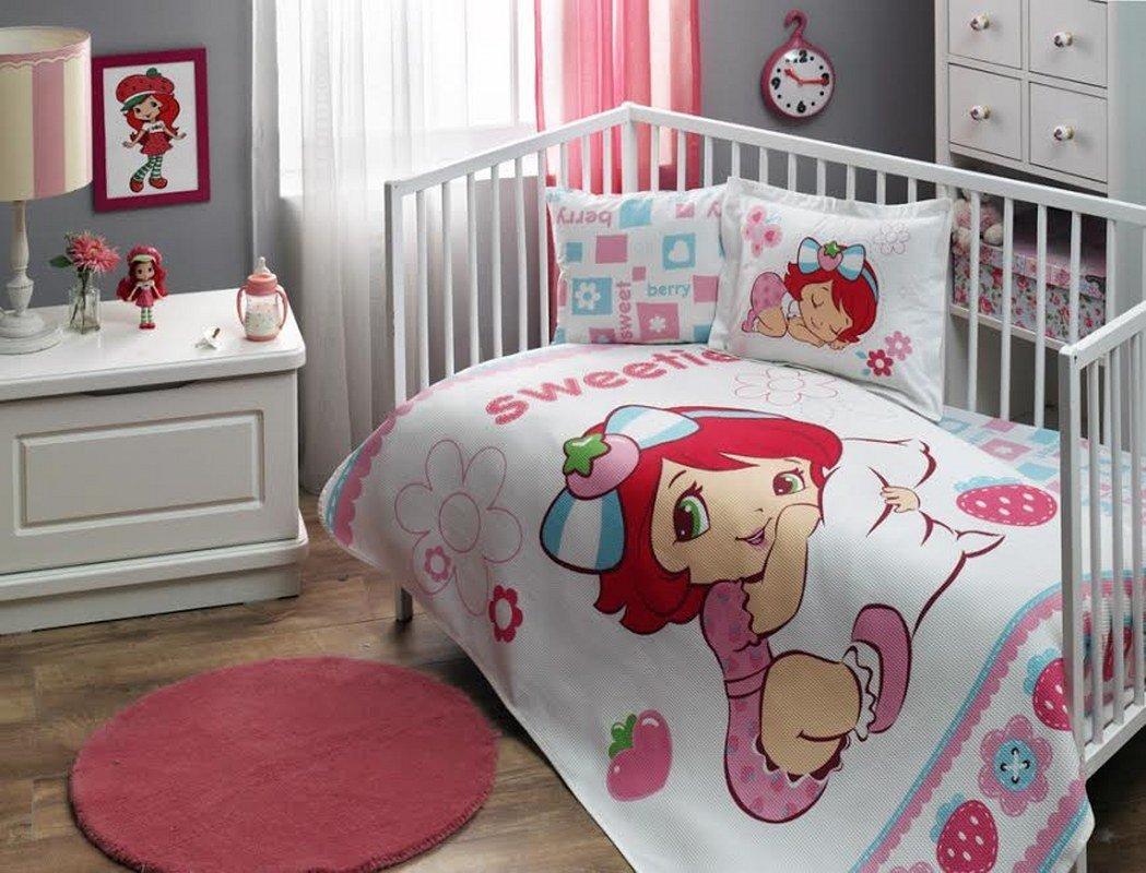%100 Cotton Disney Strawberry Shortcake Baby Coverlet Nursery Spread Pique Set Lightning Mc Queen cityof20