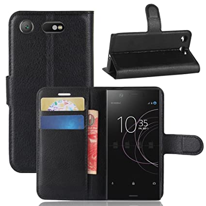 Guran® Funda de Cuero PU Para Sony Xperia XZ1 Compact Smartphone Función de Soporte con Ranura para Tarjetas Flip Case Cover Caso-negro