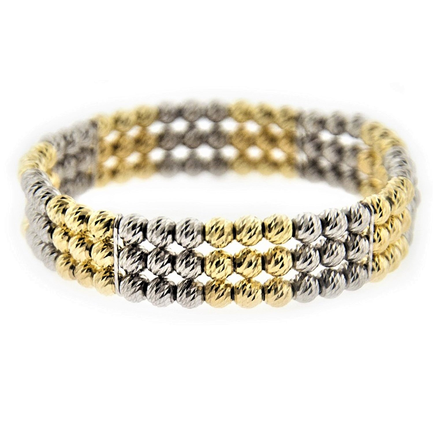 MCS Jewelry Sterling Silver Gold Plated 3 Row Diamond-Cut Beads Adjustable Stretch Bracelet (Fit 7'' to 8.5'' Wrist) by MCS Jewelry