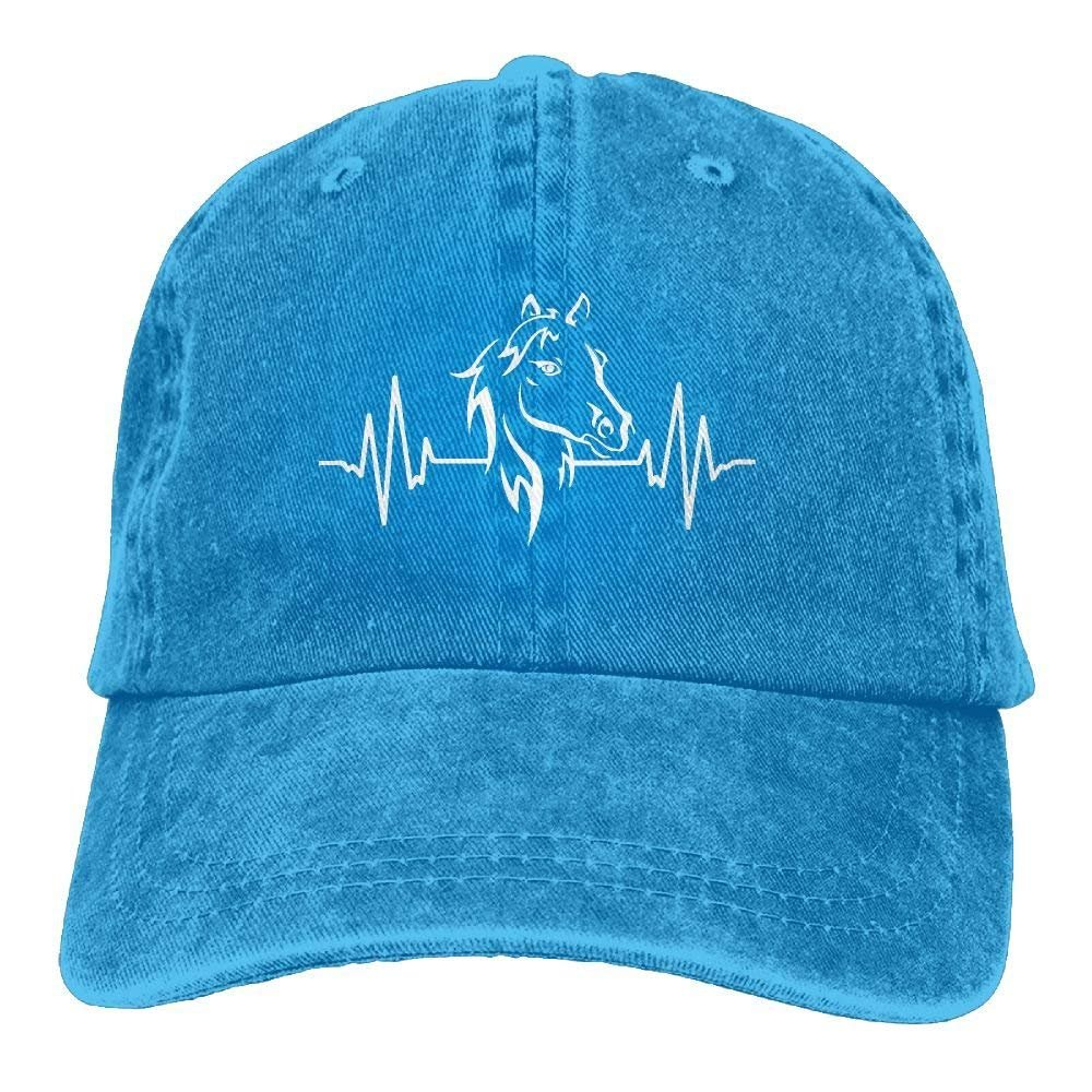 Personality Caps Hats Men and Women Horse Heartbeat 1-1 Vintage Jeans Baseball Cap WCMBY