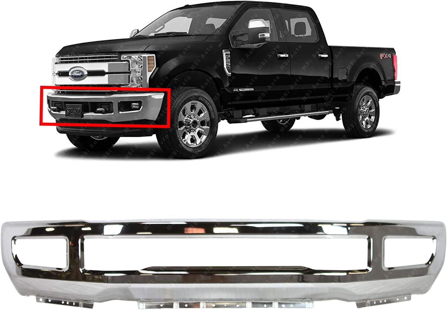 Chrome BUMPERS THAT DELIVER FO1002439 Steel Front Bumper Face Bar for 2017 2018 2019 Ford F-250 F-350 Super Duty 17 18 19