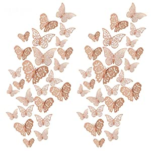 DaveandAthena 96 Pieces 3D Butterfly Wall Decals Sticker Wall Decal Decor Art Decorations Sticker Set for Room Home Classroom Offices Bathroom Living Room Decor (Rose Gold)