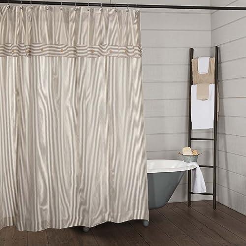 Piper Classics Farmhouse Ticking Stripe Shower Curtain 72x72 Taupe