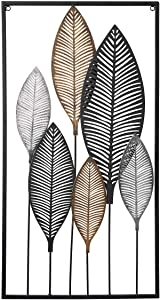 EKR DIY Tree of Life Leaves Metal Wall décor Accents for Home Wrought Iron Wall Sculptures Silver Brown Grey Color