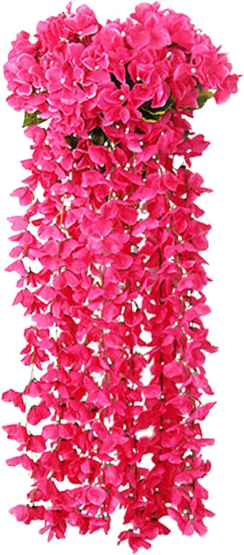 Leewa Artificial Violet Flower Hanging Flower, Simulation Flower, Wisteria Basket Hanging Garland, , Multi-Color Artificial Hanging Flowers, Holiday Wedding Home Decor (Hot Pink, 2PC)