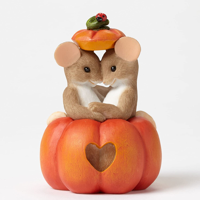 Charming Tails Figurine Pumpkins Fall Season Harvest Thanksgiving Heart Love