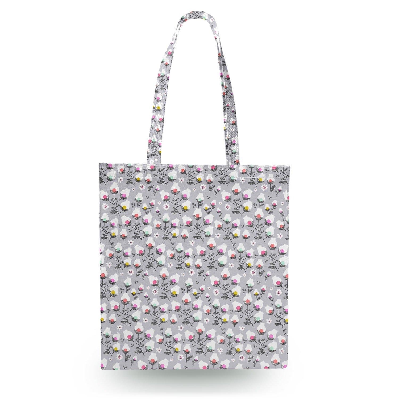 Subtle Flowers on grau Canvas Tote Bag Shopper Tragetasche Tragetasche Tragetasche B01MY0I7U5 Shopper Echt 856290
