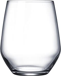 Circleware Basic Stemless White-Red Wine Drinking Glasses, Set of 4, 16 ounce, Limited Edition Glassware